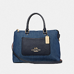 EMMA SATCHEL - F39895 - DENIM/LIGHT GOLD