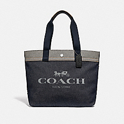 COACH F39904 - TOTE WITH HORSE AND CARRIAGE WASHED DENIM/SILVER