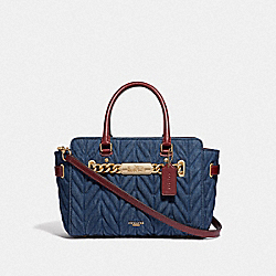 COACH F39905 - BLAKE CARRYALL 25 WITH QUILTING DENIM/LIGHT GOLD