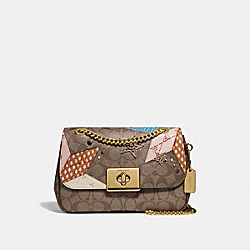 CASSIDY CROSSBODY IN SIGNATURE CANVAS WITH STAR PATCHWORK - F39918 - KHAKI MULTI/LIGHT GOLD