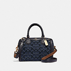 IVIE BENNETT SATCHEL IN SIGNATURE DENIM - F39920 - DENIM/LIGHT GOLD
