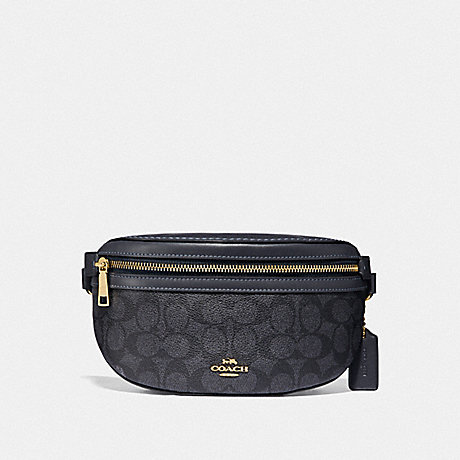 COACH F39937 BELT BAG IN SIGNATURE CANVAS GD/CHARCOAL-MIDNIGHT-NAVY