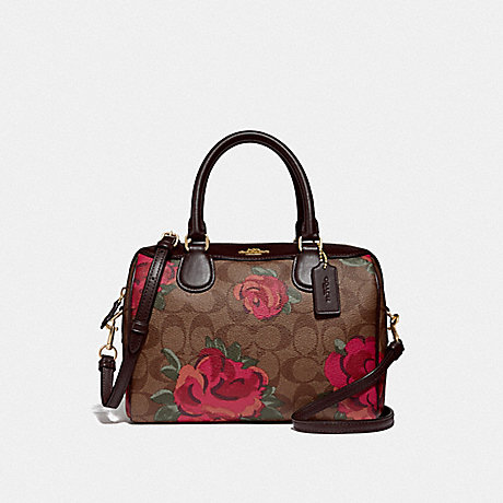 COACH F39962 MINI BENNETT SATCHEL IN SIGNATURE CANVAS WITH JUMBO FLORAL PRINT<br>蔻驰小贝内特挎在签名画布上巨型花纹 卡其/红棕色多/浅黄金