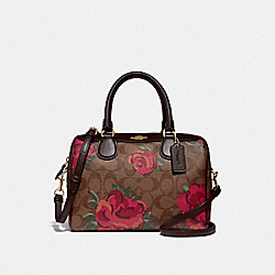 MINI BENNETT SATCHEL IN SIGNATURE CANVAS WITH JUMBO FLORAL PRINT - F39962 - KHAKI/OXBLOOD MULTI/LIGHT GOLD
