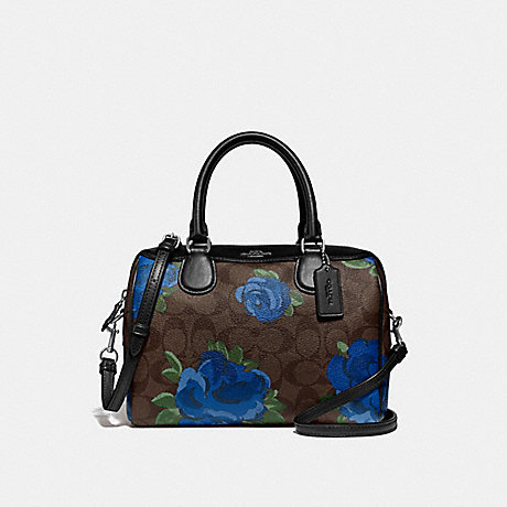 COACH F39962 MINI BENNETT SATCHEL IN SIGNATURE CANVAS WITH JUMBO FLORAL PRINT BROWN BLACK/MULTI/SILVER