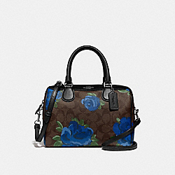 MINI BENNETT SATCHEL IN SIGNATURE CANVAS WITH JUMBO FLORAL PRINT - F39962 - BROWN BLACK/MULTI/SILVER