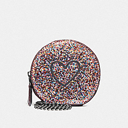 COACH F39966 - KEITH HARING ROUND COIN CASE MULTI/BLACK ANTIQUE NICKEL