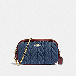 CROSSBODY POUCH WITH QUILTING - F39968 - DENIM/LIGHT GOLD