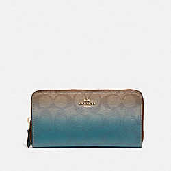 COACH F40027 Accordion Zip Wallet In Ombre Signature Canvas KHAKI/GREEN MULTI/IMITATION GOLD