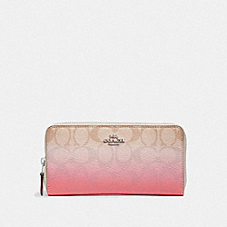 COACH F40027 Accordion Zip Wallet In Ombre Signature Canvas LIGHT KHAKI/PINK MULTI/SILVER