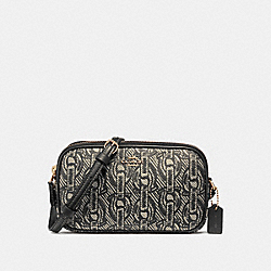 CROSSBODY POUCH WITH CHAIN PRINT - F40112 - BLACK/LIGHT GOLD