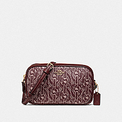 COACH F40112 - CROSSBODY POUCH WITH CHAIN PRINT CLARET/LIGHT GOLD