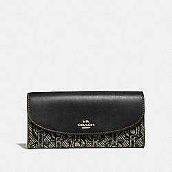 SLIM ENVELOPE WALLET WITH CHAIN PRINT - F40116 - BLACK/LIGHT GOLD