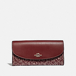 COACH F40116 Slim Envelope Wallet With Chain Print CLARET/LIGHT GOLD