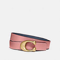 COACH F40119 Signature Buckle Reversible Belt, 25mm NI/DENIM LIGHT BLUSH