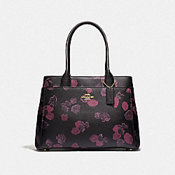 COACH F40340 Casey Tote With Halftone Floral Print BLACK/WINE/LIGHT GOLD