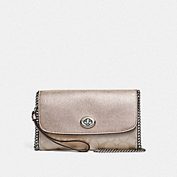 COACH F40645 Chain Crossbody In Signature Canvas PLATINUM/SILVER