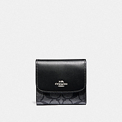 COACH F40646 Small Wallet In Signature Canvas GUNMETAL/SILVER
