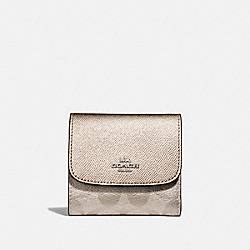 COACH F40646 Small Wallet In Signature Canvas PLATINUM/SILVER