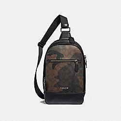 GRAHAM PACK IN SIGNATURE CANVAS WITH CAMO PRINT - F40651 - GREEN MULTI/BLACK ANTIQUE NICKEL