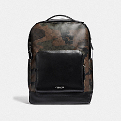 GRAHAM BACKPACK IN SIGNATURE CANVAS WITH CAMO PRINT - F40652 - GREEN MULTI/BLACK ANTIQUE NICKEL