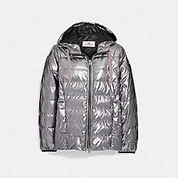 COACH F40661 Metallic Lightweight Puffer GUNMETAL