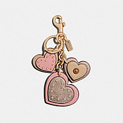 COACH F40696 Studded Heart Applique Bag Charm PETAL/GOLD
