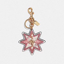 COACH F40702 Mixed Patchwork Star Bag Charm CHALK/GOLD