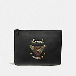 COACH F40711 - LARGE POUCH WITH EASY RIDER MOTIF BLACK MULTI/BLACK ANTIQUE NICKEL