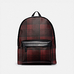 COACH F40726 Charles Backpack With Twill Plaid Print RED MULTI/BLACK ANTIQUE NICKEL