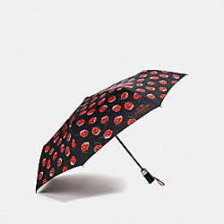 UMBRELLA WITH POPPY PRINT - F41062 - BLACK/MULTICOLOR/SILVER