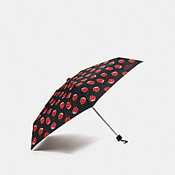COACH F41065 Mini Umbrella With Poppy Print BLACK/MULTICOLOR/SILVER