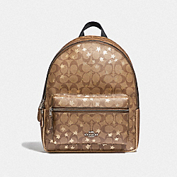 MEDIUM CHARLIE BACKPACK IN SIGNATURE CANVAS WITH POP STAR PRINT - F41298 - KHAKI MULTI /SILVER