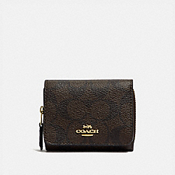 COACH F41302 Small Trifold Wallet In Signature Canvas BROWN/BLACK/LIGHT GOLD