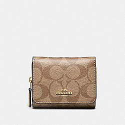 COACH F41302 - SMALL TRIFOLD WALLET IN SIGNATURE CANVAS KHAKI/SUNFLOWER/IMITATION GOLD