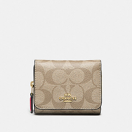 COACH F41302 SMALL TRIFOLD WALLET IN SIGNATURE CANVAS LIGHT KHAKI/ROUGE/GOLD
