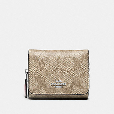 COACH F41302 SMALL TRIFOLD WALLET IN SIGNATURE CANVAS LIGHT-KHAKI/CARNATION/SILVER
