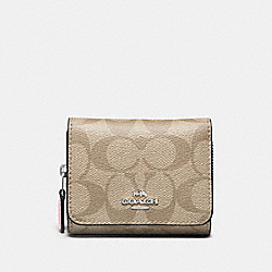 COACH F41302 Small Trifold Wallet In Signature Canvas LIGHT KHAKI/CARNATION/SILVER