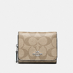 COACH F41302 Small Trifold Wallet In Signature Canvas LIGHT KHAKI/SEAFOAM/SILVER