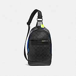 COACH F41317 Charles Pack In Signature Canvas BLACK/BLACK MULTI/BLACK ANTIQUE NICKEL
