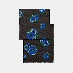 SIGNATURE JUMBO FLORAL PRINT OBLONG SCARF - F41318 - CHESTNUT