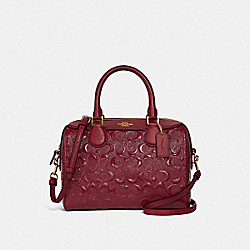 COACH F41343 Mini Bennett Satchel In Signature Leather CHERRY /IMITATION GOLD