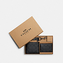 BOXED 3-IN-1 WALLET GIFT SET IN SIGNATURE CANVAS - F41346 - BLACK/BLACK/OXBLOOD