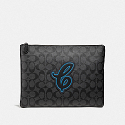 LARGE POUCH IN SIGNATURE CANVAS WITH COACH MOTIF - F41351 - NEON BLUE MULTI/BLACK ANTIQUE NICKEL