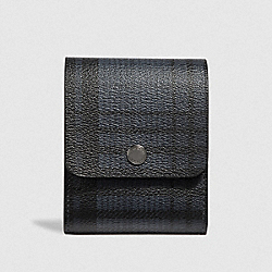 COACH F41378 - GROOMING KIT WITH TWILL PLAID PRINT MIDNIGHT NAVY MULTI/BLACK ANTIQUE NICKEL