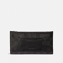 ZIP PHONE WALLET IN SIGNATURE CANVAS - F41383 - BLACK/BLACK/OXBLOOD