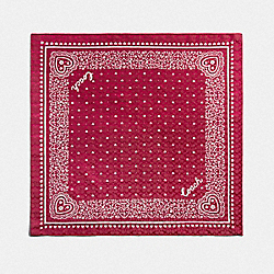 COACH F41470 Lace Heart Print Bandana TRUE RED