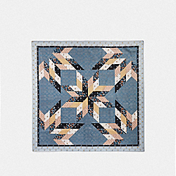 STAR PATCHWORK SILK SQUARE SCARF - F41500 - DENIM