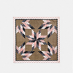 COACH F41500 - STAR PATCHWORK SILK SQUARE SCARF KHAKI