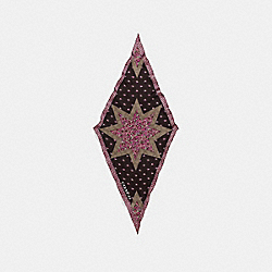 COACH F41501 - STAR PATCHWORK SILK DIAMOND SCARF RASPBERRY